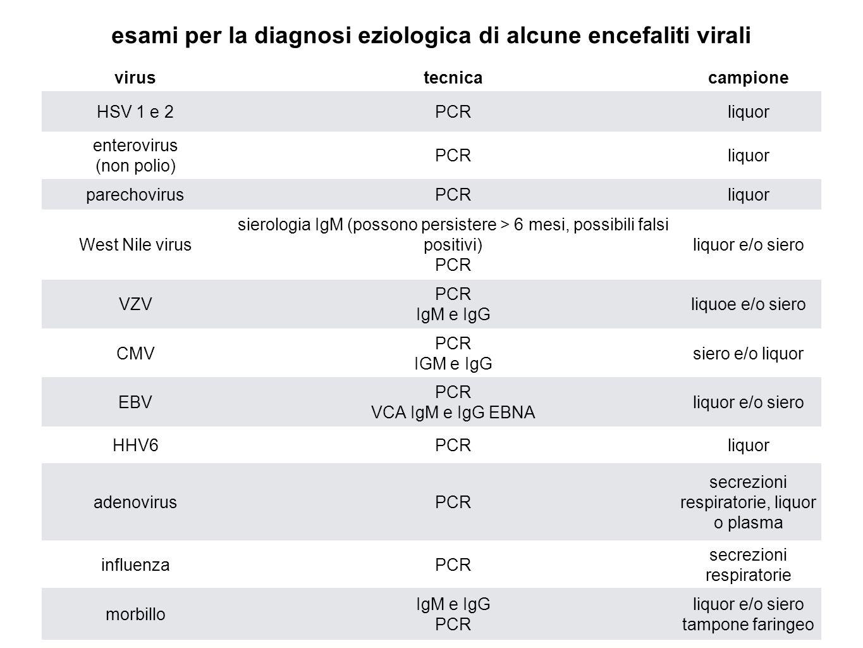 esami per la diagnosi eziologica di alcune encefaliti virali virustecnicacampione HSV 1 e 2PCRliquor enterovirus (non polio) PCRliquor parechovirusPCR