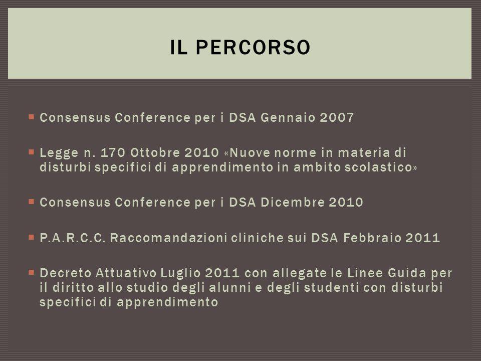  Consensus Conference per i DSA Gennaio 2007  Legge n. 170 Ottobre 2010 «Nuove norme in materia di disturbi specifici di apprendimento in ambito sco