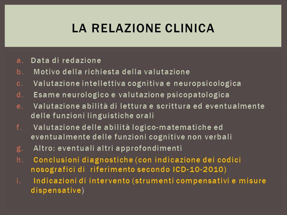 a.Data di redazione b. Motivo della richiesta della valutazione c. Valutazione intellettiva cognitiva e neuropsicologica d. Esame neurologico e valuta