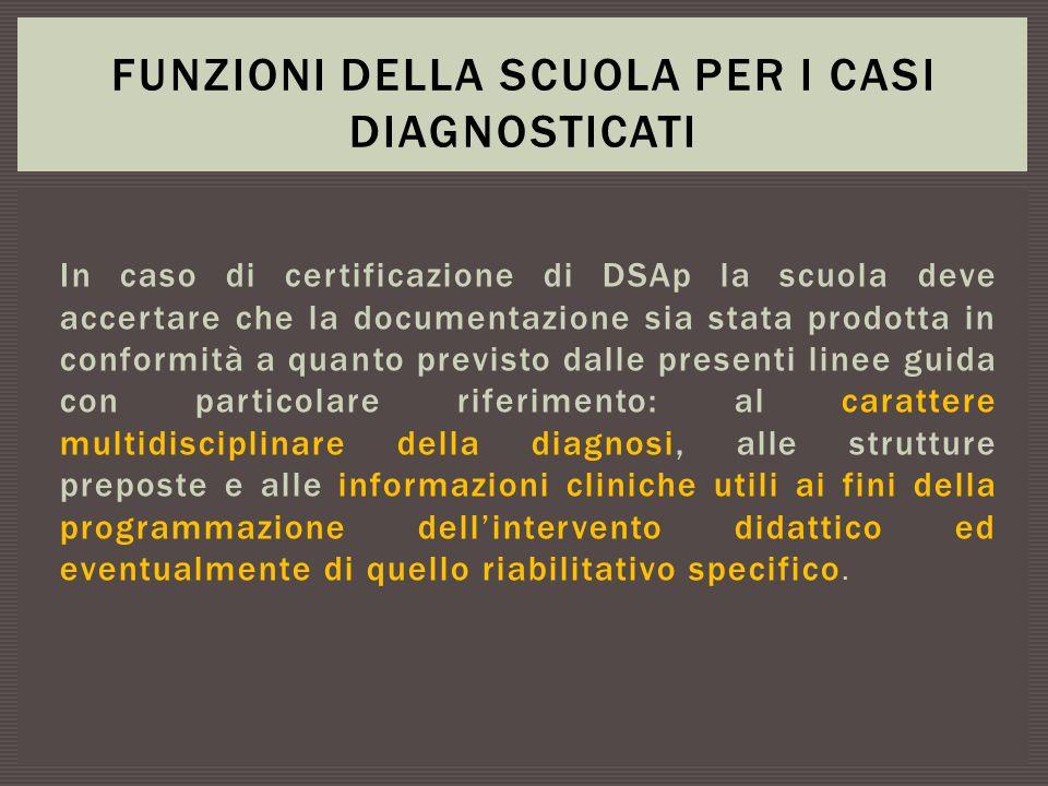 In caso di certificazione di DSAp la scuola deve accertare che la documentazione sia stata prodotta in conformità a quanto previsto dalle presenti lin