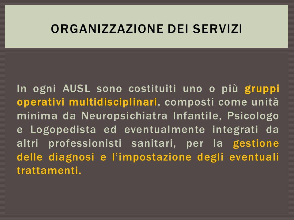 In ogni AUSL sono costituiti uno o più gruppi operativi multidisciplinari, composti come unità minima da Neuropsichiatra Infantile, Psicologo e Logope