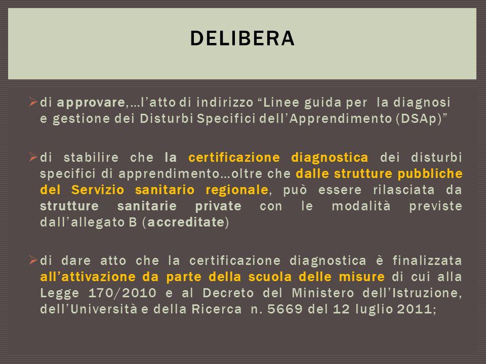 """ di approvare,…l'atto di indirizzo """"Linee guida per la diagnosi e gestione dei Disturbi Specifici dell'Apprendimento (DSAp)""""  di stabilire che la ce"""