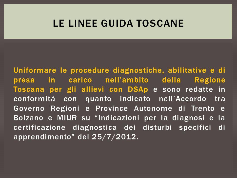 Uniformare le procedure diagnostiche, abilitative e di presa in carico nell'ambito della Regione Toscana per gli allievi con DSAp e sono redatte in co