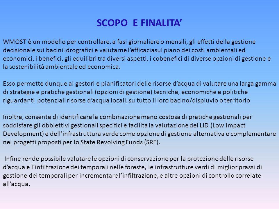 SCOPO E FINALITA' WMOST è un modello per controllare, a fasi giornaliere o mensili, gli effetti della gestione decisionale sui bacini idrografici e va