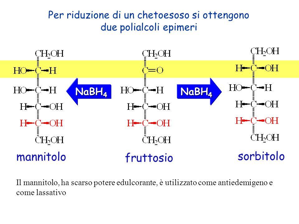 Per riduzione di un chetoesoso si ottengono due polialcoli epimeri NaBH 4 sorbitolo mannitolo fruttosio Il mannitolo, ha scarso potere edulcorante, è