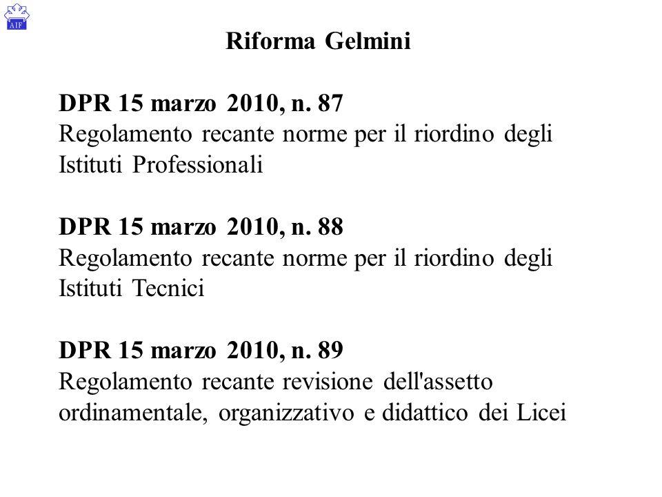 Riforma Gelmini DPR 15 marzo 2010, n. 87 Regolamento recante norme per il riordino degli Istituti Professionali DPR 15 marzo 2010, n. 88 Regolamento r