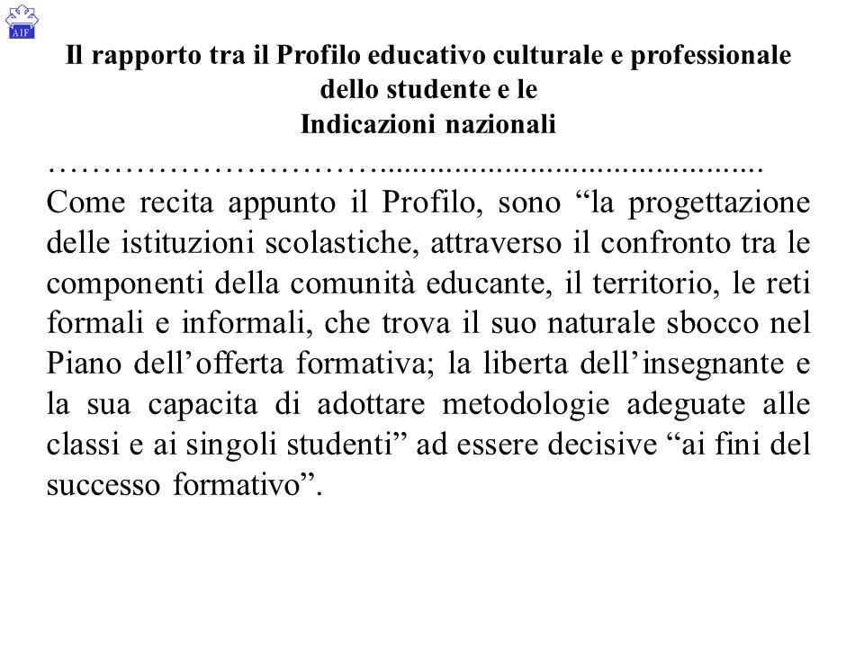 Il rapporto tra il Profilo educativo culturale e professionale dello studente e le Indicazioni nazionali …………………………...................................