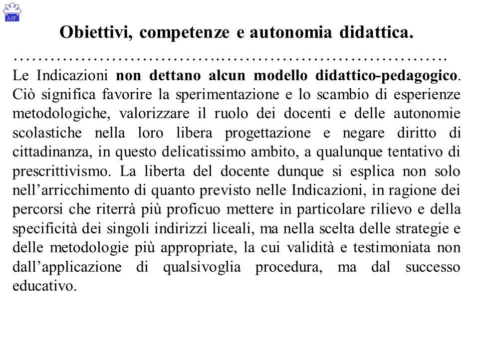 Obiettivi, competenze e autonomia didattica. …………………………….………………………………. Le Indicazioni non dettano alcun modello didattico-pedagogico. Ciò significa fa