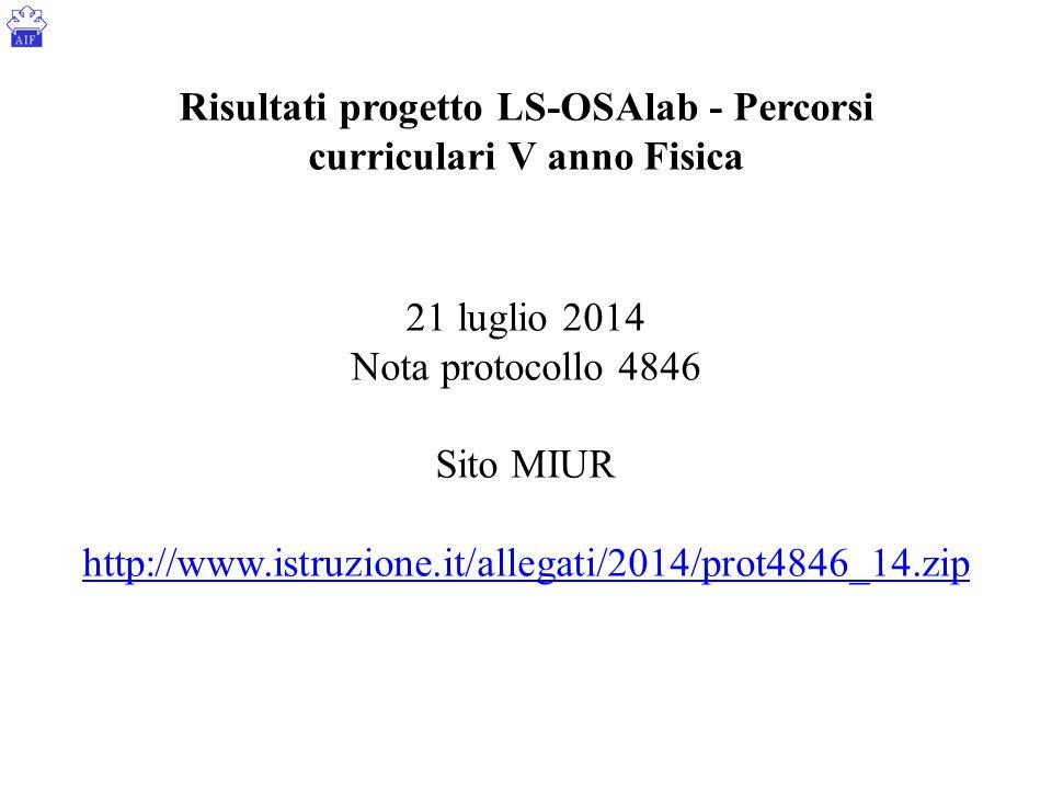 Risultati progetto LS-OSAlab - Percorsi curriculari V anno Fisica 21 luglio 2014 Nota protocollo 4846 Sito MIUR http://www.istruzione.it/allegati/2014