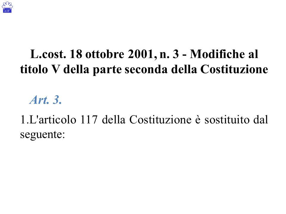 L.cost. 18 ottobre 2001, n. 3 - Modifiche al titolo V della parte seconda della Costituzione Art. 3. 1.L'articolo 117 della Costituzione è sostituito