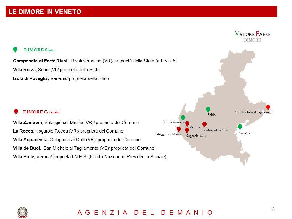 Compendio di Forte Rivoli, Rivoli veronese (VR)/ proprietà dello Stato (art. 5 c. 5) Villa Rossi, Schio (VI)/ proprietà dello Stato Isola di Poveglia,