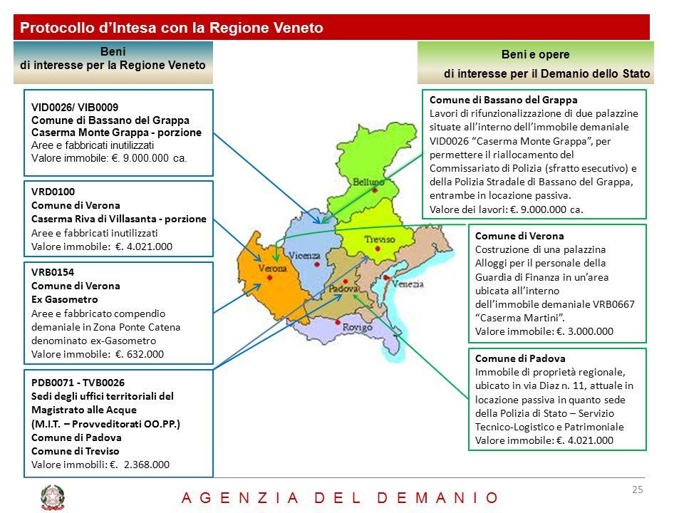Protocollo d'Intesa con la Regione Veneto Beni di interesse per la Regione Veneto Beni e opere di interesse per il Demanio dello Stato Comune di Bassa