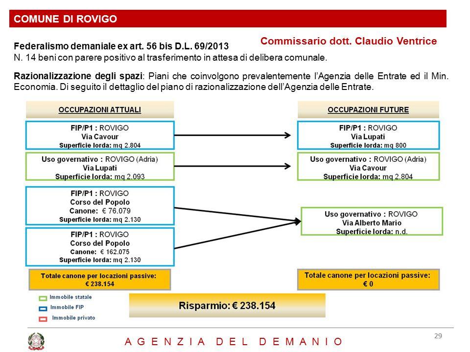 Commissario dott. Claudio Ventrice COMUNE DI ROVIGO 29 A G E N Z I A D E L D E M A N I O Federalismo demaniale ex art. 56 bis D.L. 69/2013 N. 14 beni