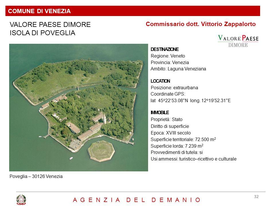 VALORE PAESE DIMORE ISOLA DI POVEGLIA DESTINAZIONE Regione: Veneto Provincia: Venezia Ambito: Laguna Veneziana LOCATION Posizione: extraurbana Coordin