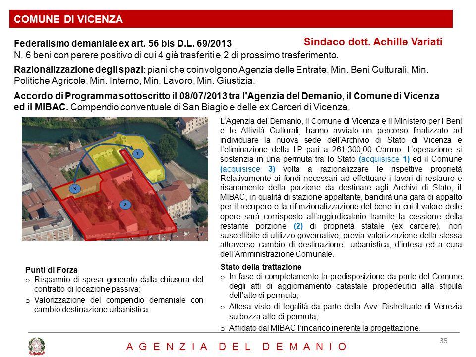 Sindaco dott. Achille Variati COMUNE DI VICENZA 35 A G E N Z I A D E L D E M A N I O Federalismo demaniale ex art. 56 bis D.L. 69/2013 N. 6 beni con p