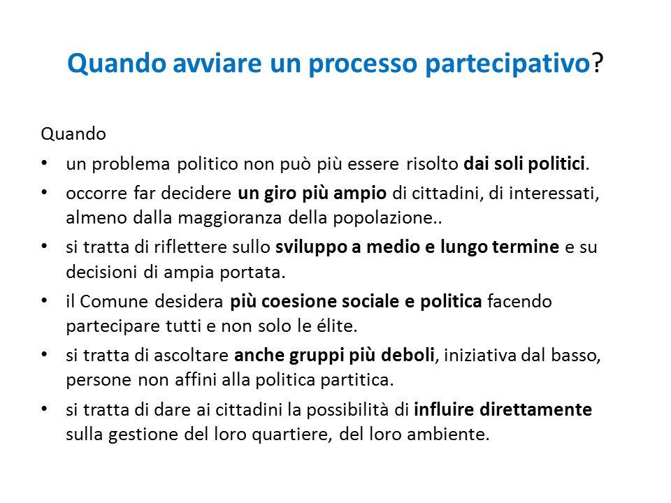 Quando avviare un processo partecipativo? Quando un problema politico non può più essere risolto dai soli politici. occorre far decidere un giro più a