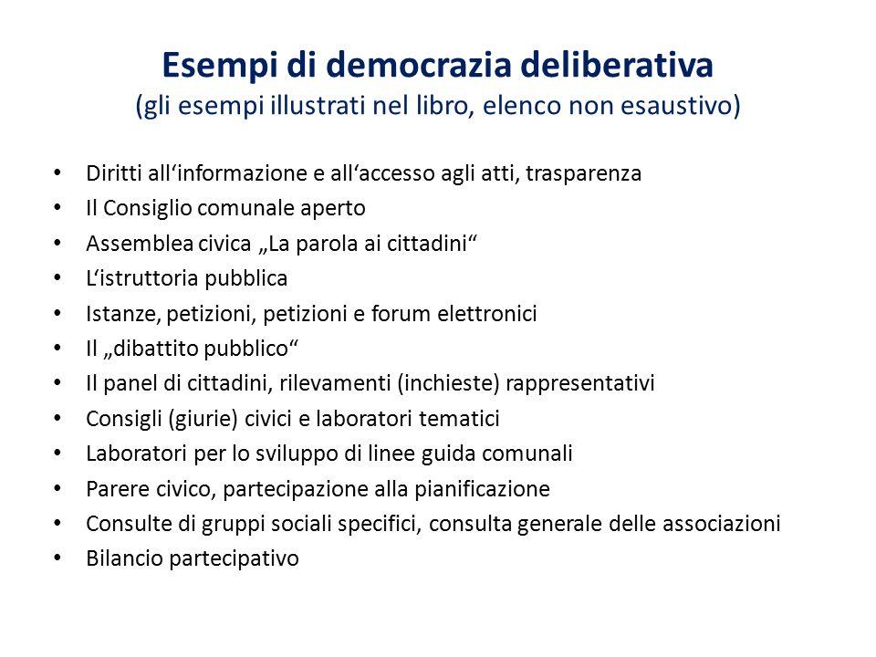 Esempi di democrazia deliberativa (gli esempi illustrati nel libro, elenco non esaustivo) Diritti all'informazione e all'accesso agli atti, trasparenz