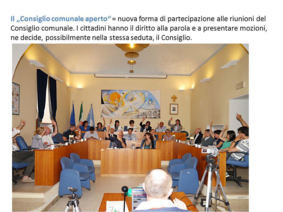 """Il """"Consiglio comunale aperto"""" = nuova forma di partecipazione alle riunioni del Consiglio comunale. I cittadini hanno il diritto alla parola e a pres"""