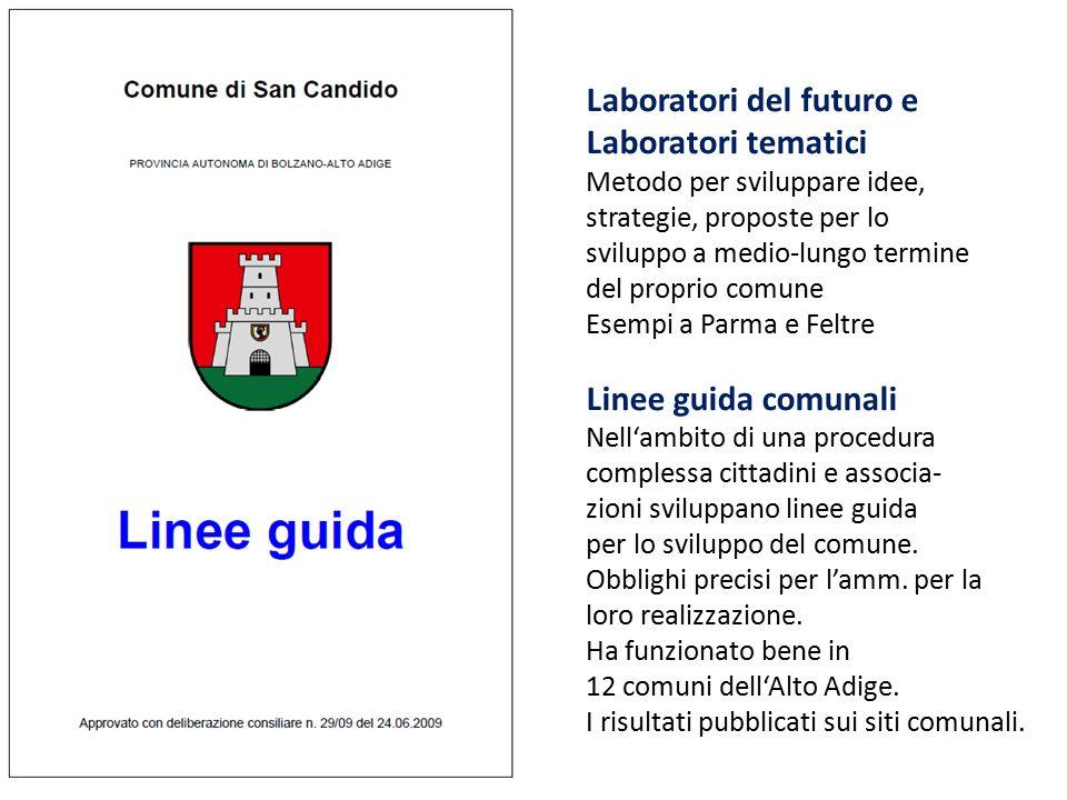 Laboratori del futuro e Laboratori tematici Metodo per sviluppare idee, strategie, proposte per lo sviluppo a medio-lungo termine del proprio comune E