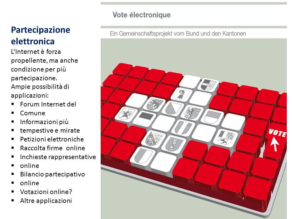 Partecipazione elettronica L'Internet è forza propellente, ma anche condizione per più partecipazione. Ampie possibilità di applicazioni:  Forum Inte
