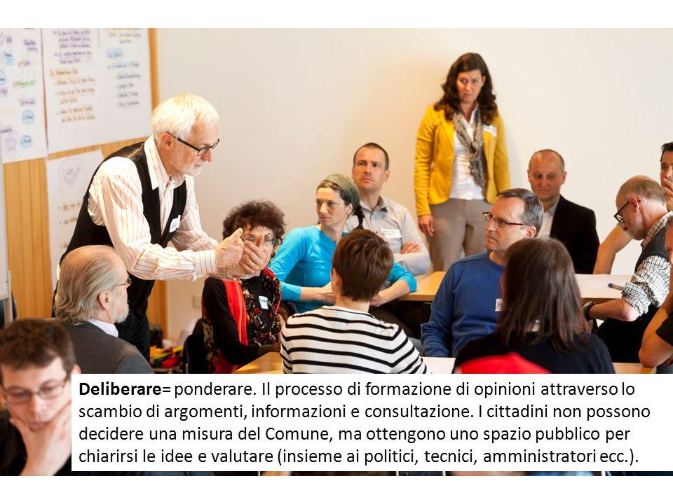 Deliberare= ponderare. Il processo di formazione di opinioni attraverso lo scambio di argomenti, informazioni e consultazione. I cittadini non possono