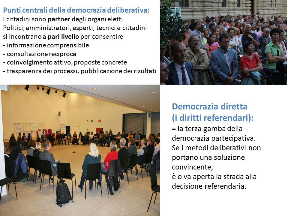 Democrazia diretta (i diritti referendari): = la terza gamba della democrazia partecipativa. Se i metodi deliberativi non portano una soluzione convin