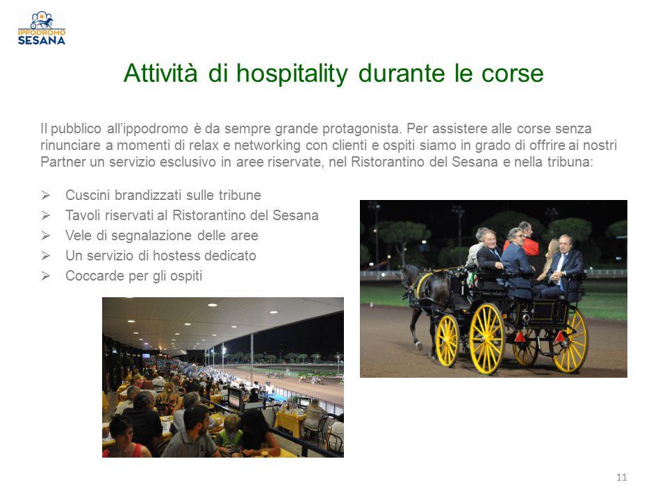 Attività di hospitality durante le corse Il pubblico all'ippodromo è da sempre grande protagonista.