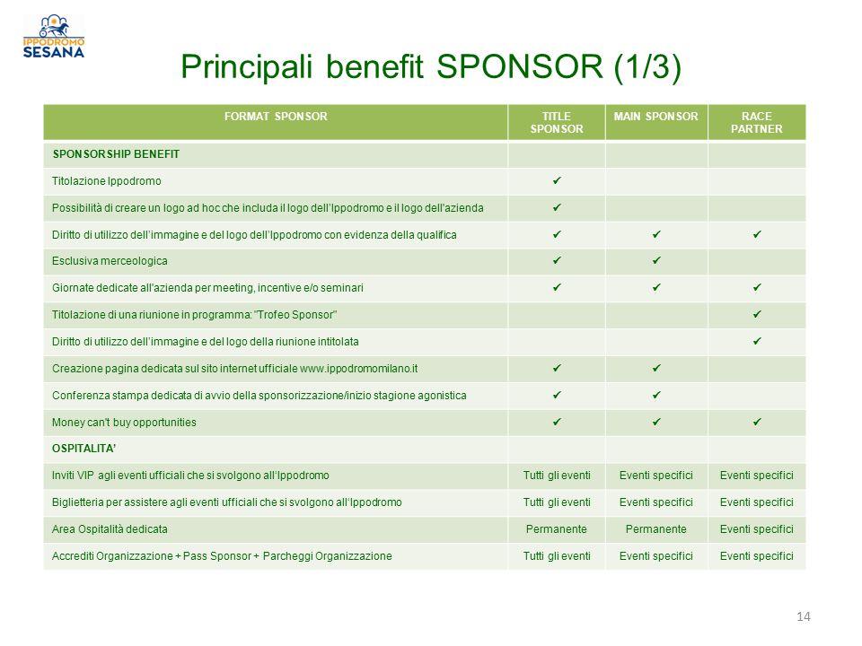 Principali benefit SPONSOR (1/3) FORMAT SPONSORTITLE SPONSOR MAIN SPONSORRACE PARTNER SPONSORSHIP BENEFIT Titolazione Ippodromo Possibilità di creare