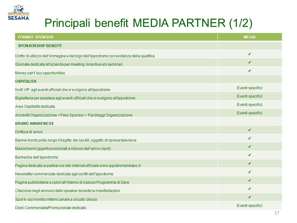 Principali benefit MEDIA PARTNER (1/2) FORMAT SPONSORMEDIA SPONSORSHIP BENEFIT Diritto di utilizzo dell'immagine e del logo dell'Ippodromo con evidenz