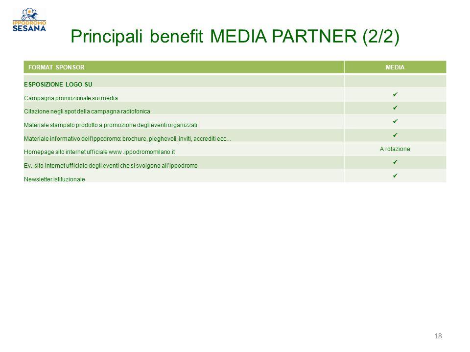 Principali benefit MEDIA PARTNER (2/2) FORMAT SPONSORMEDIA ESPOSIZIONE LOGO SU Campagna promozionale sui media Citazione negli spot della campagna rad