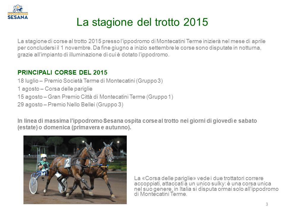 La stagione del trotto 2015 3 La stagione di corse al trotto 2015 presso l'ippodromo di Montecatini Terme inizierà nel mese di aprile per concludersi il 1 novembre.