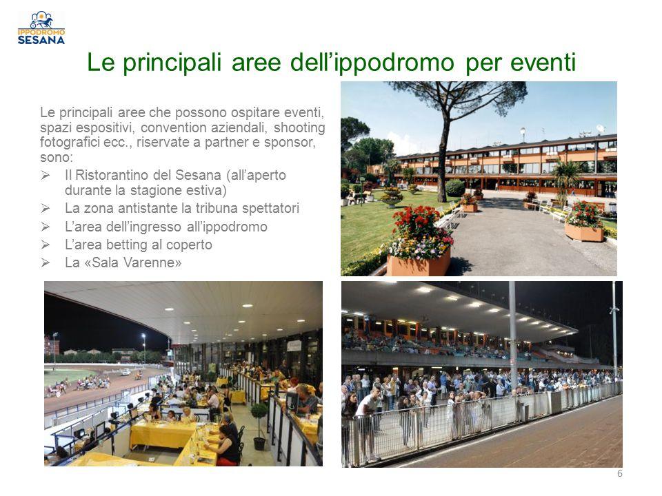 Le principali aree dell'ippodromo per eventi Le principali aree che possono ospitare eventi, spazi espositivi, convention aziendali, shooting fotograf
