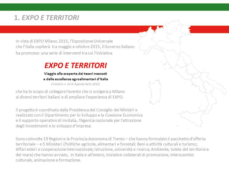 1. EXPO E TERRITORI che ha lo scopo di collegare l'evento che si svolgerà a Milano ai diversi territori italiani e di ampliare l'esperienza di EXPO. I