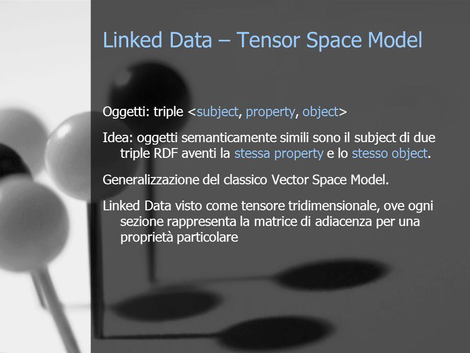 Linked Data – Tensor Space Model Oggetti: triple Idea: oggetti semanticamente simili sono il subject di due triple RDF aventi la stessa property e lo stesso object.