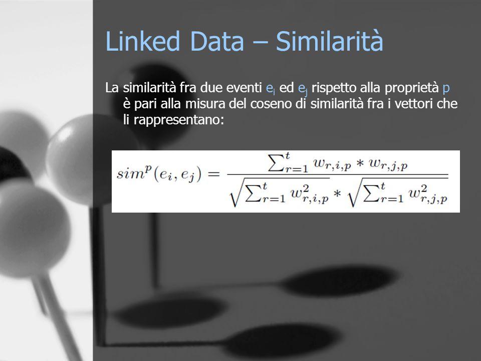 Linked Data – Similarità La similarità fra due eventi e i ed e j rispetto alla proprietà p è pari alla misura del coseno di similarità fra i vettori che li rappresentano: