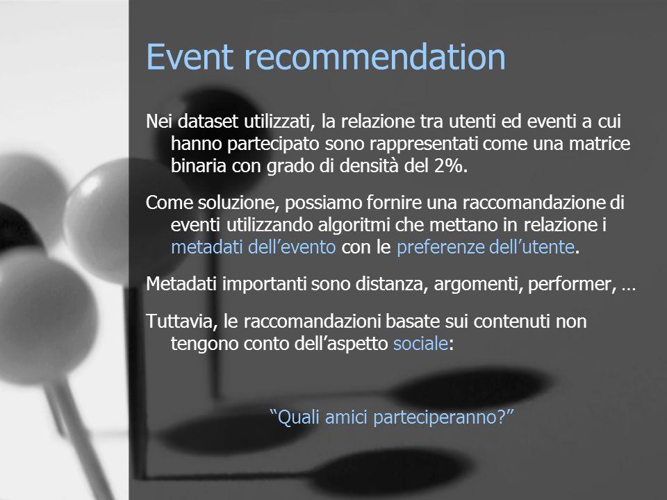 Event recommendation Nei dataset utilizzati, la relazione tra utenti ed eventi a cui hanno partecipato sono rappresentati come una matrice binaria con grado di densità del 2%.