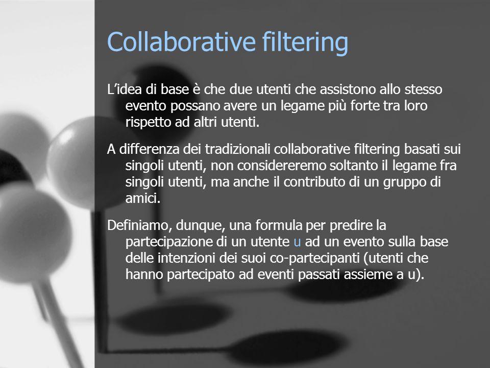 Collaborative filtering L'idea di base è che due utenti che assistono allo stesso evento possano avere un legame più forte tra loro rispetto ad altri utenti.