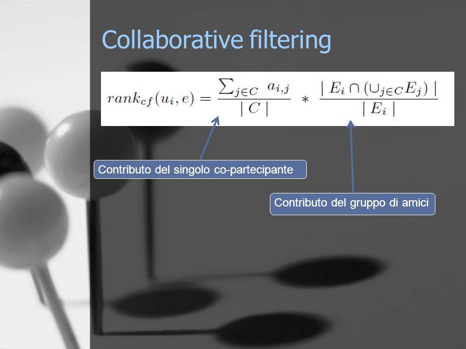 Collaborative filtering Contributo del singolo co-partecipante Contributo del gruppo di amici