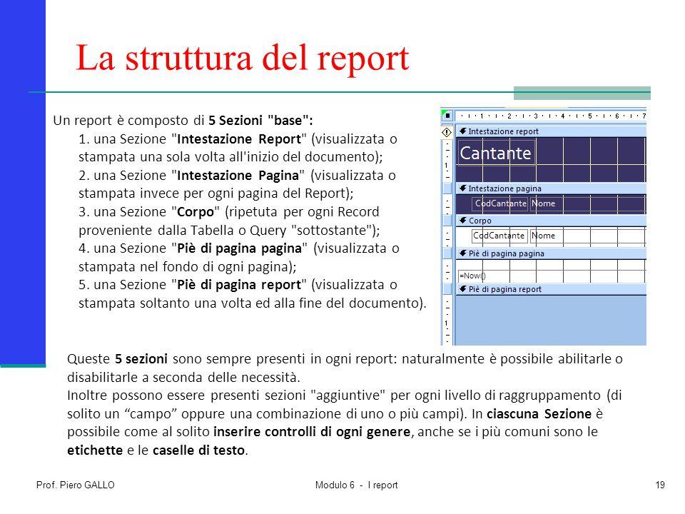 Prof. Piero GALLO Modulo 6 - I report19 La struttura del report Un report è composto di 5 Sezioni