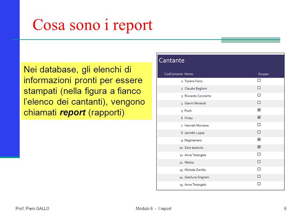 Prof. Piero GALLO Modulo 6 - I report6 Cosa sono i report Nei database, gli elenchi di informazioni pronti per essere stampati (nella figura a fianco