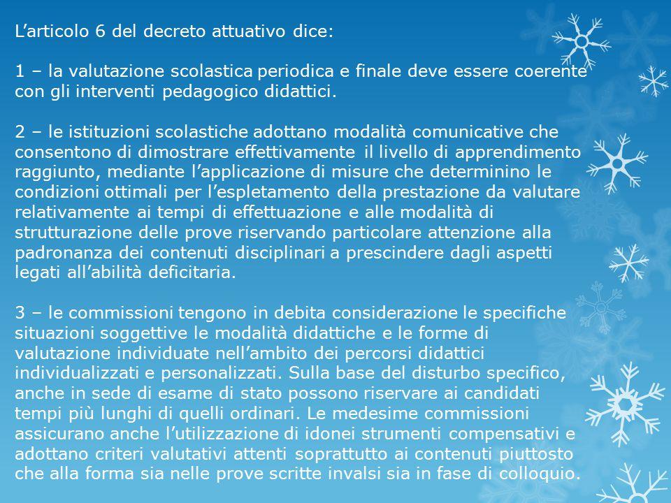L'articolo 6 del decreto attuativo dice: 1 – la valutazione scolastica periodica e finale deve essere coerente con gli interventi pedagogico didattici
