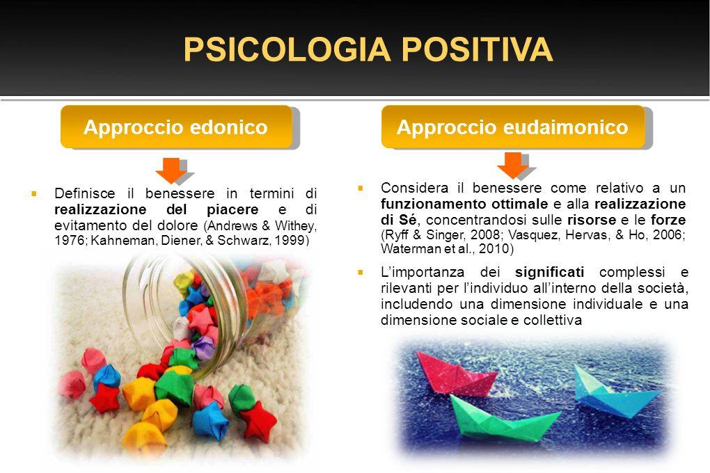  Definisce il benessere in termini di realizzazione del piacere e di evitamento del dolore (Andrews & Withey, 1976; Kahneman, Diener, & Schwarz, 1999