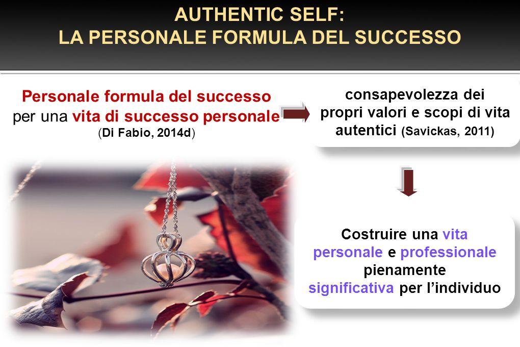 Personale formula del successo per una vita di successo personale (Di Fabio, 2014d) AUTHENTIC SELF: LA PERSONALE FORMULA DEL SUCCESSO consapevolezza d