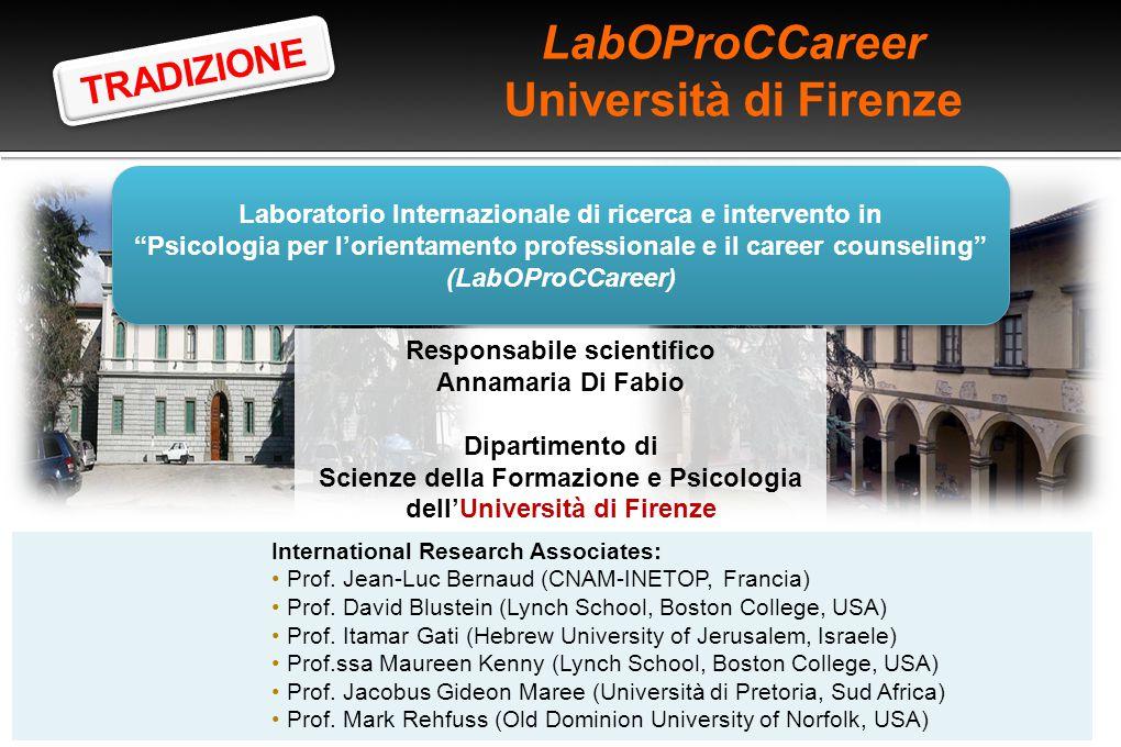 """LabOProCCareer Università di Firenze Laboratorio Internazionale di ricerca e intervento in """"Psicologia per l'orientamento professionale e il career co"""