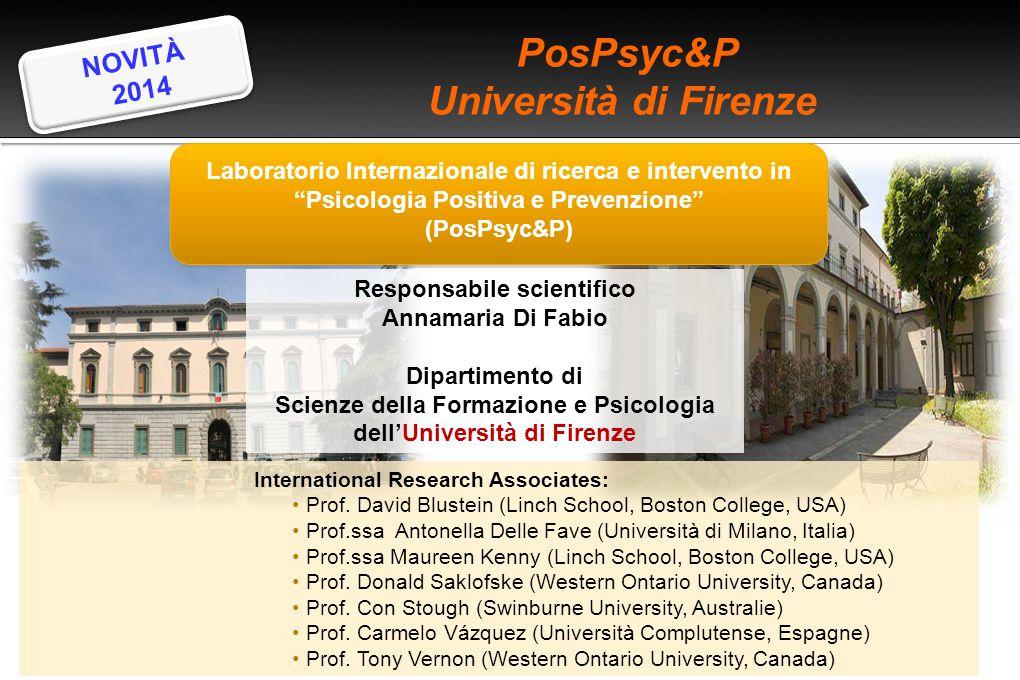 """PosPsyc&P Università di Firenze Laboratorio Internazionale di ricerca e intervento in """"Psicologia Positiva e Prevenzione"""" (PosPsyc&P) Laboratorio Int"""