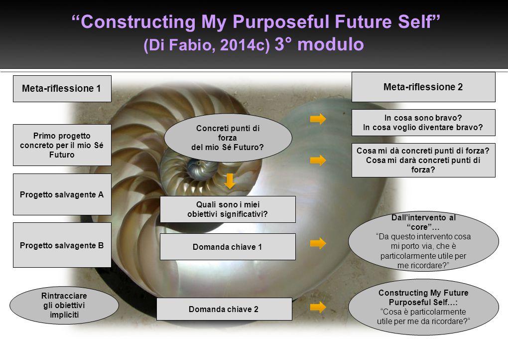 """""""Constructing My Purposeful Future Self"""" (Di Fabio, 2014c) 3° modulo Concreti punti di forza del mio Sé Futuro? Dall'intervento al """"core""""… """"Da questo"""