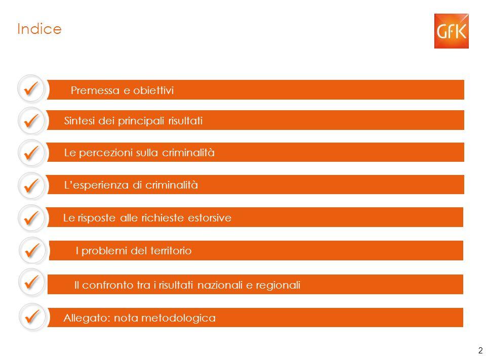Indice Le percezioni sulla criminalità Le risposte alle richieste estorsive Premessa e obiettivi Sintesi dei principali risultati L'esperienza di criminalità I problemi del territorio Allegato: nota metodologica Il confronto tra i risultati nazionali e regionali 50 2