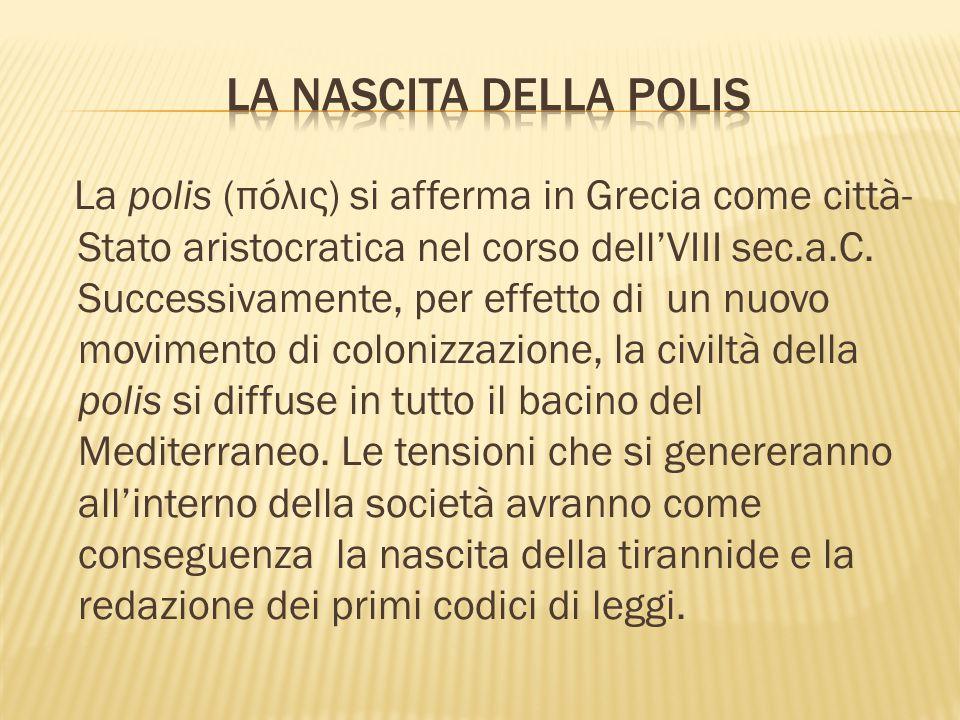 La polis (πόλις) si afferma in Grecia come città- Stato aristocratica nel corso dell'VIII sec.a.C.