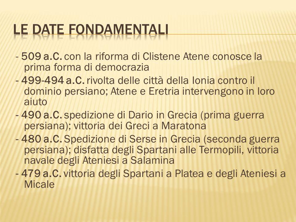 - 509 a.C.con la riforma di Clistene Atene conosce la prima forma di democrazia - 499-494 a.C.
