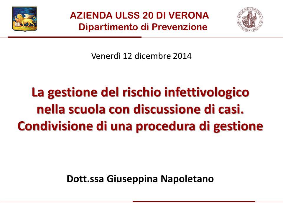 La gestione del rischio infettivologico nella scuola con discussione di casi. Condivisione di una procedura di gestione Dott.ssa Giuseppina Napoletano
